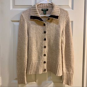EDDIE BAUER Oatmeal Cardigan with Suede Accents